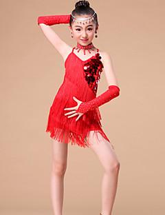 Kids' Dancewear Outfits Children's Performance Milk Fiber Rhinestones / Sequins / Tassel(s) 4 Pieces 3 Colors