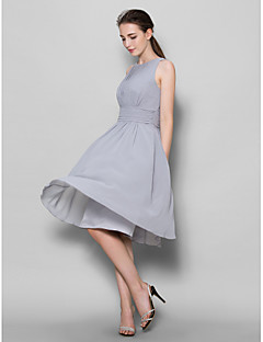 Lanting Bride® Knee-length Georgette Bridesmaid Dress A-line Scoop with Draping / Ruching