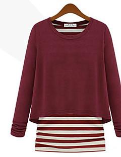 Lager-på-lager Långärmad T-shirt Kvinnors Rund hals Polyester