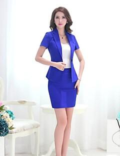 Women's Solid Blue / Red / Black Blazer , Work / Plus Sizes Notch Lapel Short Sleeve