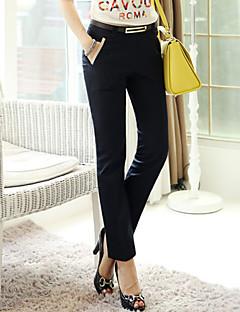 Mulheres Calças Casual Reta Misto de Algodão Sem Elasticidade Mulheres