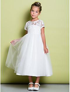 Une ligne de thé longueur robe de fille fleur - tulle en dentelle manches courtes bijou col avec dentelle by lan ting bride®