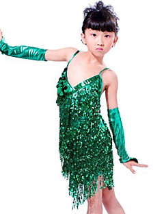 Latin Dance Outfits Children's Performance Sequined Paillettes Tassel(s) 3 Pieces Sleeveless Sleeves Dress 68