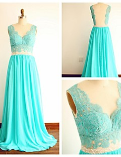 Formal Evening Dress - Jade A-line V-neck Sweep/Brush Train Chiffon / Lace