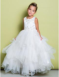 Lanting Bride A-line Floor-length Flower Girl Dress - Organza / Satin Sleeveless Jewel with Appliques / Beading