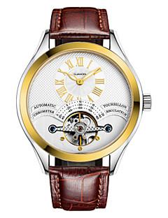 Herren Armbanduhr Automatikaufzug Kalender / Wasserdicht / Transparentes Ziffernblatt / leuchtend Leder Band Schwarz / Braun Marke