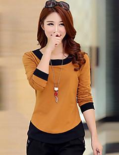 Women's Patchwork Blue / Brown / Green / Orange T-shirt , Round Neck Long Sleeve