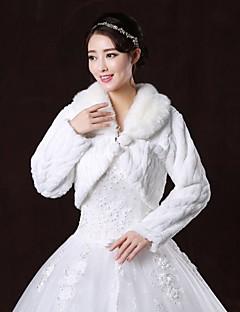 Fur Wraps / Wedding  Wraps / Fur Coats Coats/Jackets Long Sleeve Faux Fur White Wedding / Party/Evening V-neck Lace-up