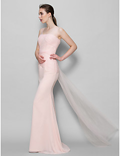 Lanting Bride® Floor-length Chiffon / Tulle Bridesmaid Dress - Sheath / Column Scoop with Criss Cross