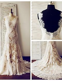 웨딩 드레스 - 샴페인 트럼펫/멀메이드 쿼트 트레인 V 넥 레이스 / 사틴