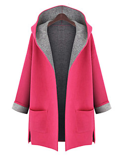 Korelinda ® Women's Solid Red / Yellow Coat , Vintage / Casual / Cute / Party / Plus Sizes Long Sleeve Polyester 893
