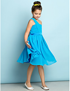 Lanting Bride® Knee-length Chiffon Junior Bridesmaid Dress - Mini Me A-line One Shoulder with Side Draping