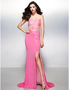 Formeller Abend Kleid - Mehrfarbig Jersey - Meerjungfrau-Linie / Mermaid-Stil - Sweep / Pinsel Zug - trägerloser Ausschnitt