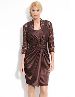 Sheath/Column Mother of the Bride Dress - Chocolate Knee-length Taffeta