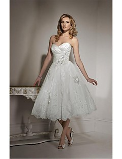 A-line Wedding Dress - White Tea-length Sweetheart Tulle
