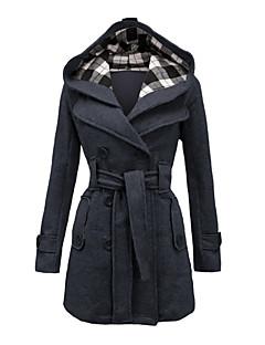 Mulheres Casaco Casual Plus Sizes Inverno,Sólido Preto / Cinza / Roxo Algodão Com Capuz-Manga Longa Grossa