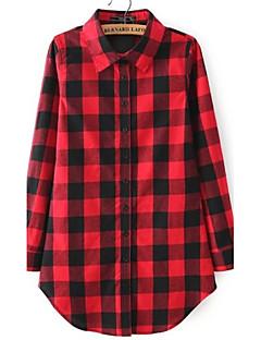 Annet Rød / Sort Medium Langermet,Skjortekrage Skjorte Rutet Høst Enkel Fritid/hverdag Kvinner