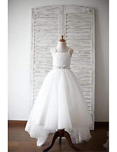 A-line Asymmetrical Flower Girl Dress - Lace / Satin / Tulle Sleeveless Straps with