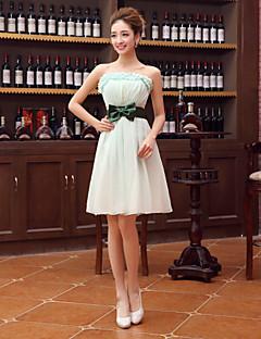 Brautjungfernkleid - Salbei Chiffon - A-Linie - knielang - trägerloser Ausschnitt