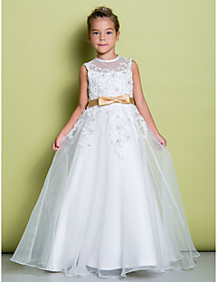 Lanting Bride ® A-line Floor-length Flower Girl Dress - Organza Sleeveless Jewel with Appliques