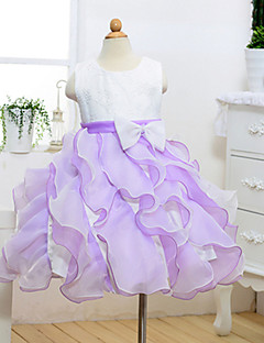 A-line Knee-length Flower Girl Dress - Cotton Tulle Polyester Jewel with Bow(s) Sash / Ribbon