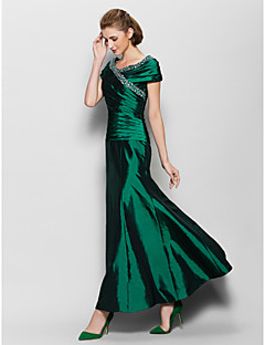 A-line Mother of the Bride Dress Ankle-length Short Sleeve Taffeta with Beading / Side Draping