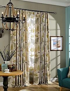două panouri frunze țară maro verde lenjerie dormitor perdele panou de bumbac amestec draperii