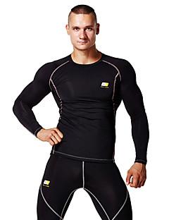 לגברים ריצה צמרות מדים בסטים לביש חומרים קלים רך תומך זיעה דחיסה בגדי ספורט יוגה פילאטיס כושר גופני מירוץ ספורט פנאי ריצה טרילן שחור