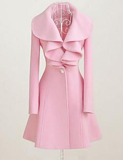Dame Vintage I-byen-tøj Kjole Langærmet Rosa Sort Vinter