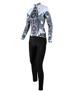 PALADIN® 싸이클 타이즈 져지 여성의 긴 소매 자전거 통기성 / 빠른 드라이 / 방풍 / 백 포켓 져지+팬츠 / 의류 세트/수트 100% 폴리에스터 꽃 / 식물 봄 / 여름 / 가을 사이클링/자전거