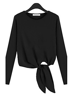 T-Shirt Da donna Spacco Rotonda Manica lunga Poliestere