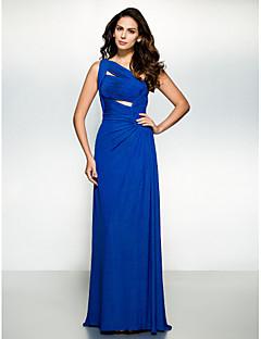 Vestito - Royal Blue Sera Tubino Monospalla Sweep / treno pennello Jersey