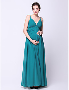Formal Evening Dress - Dark Green Maternity A-line Spaghetti Straps Sweep/Brush Train Chiffon