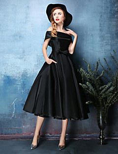 Cocktail Party Dress - Jade / Black A-line Off-the-shoulder Tea-length Polyester / Satin Chiffon
