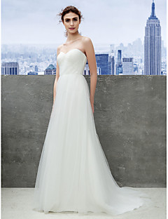 Lanting Bride Convertible Dress Sweep/Brush Train Tulle Sheath/Column Wedding Dress (1539445)