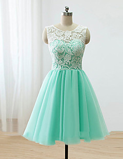 Knee-length Lace / Satin / Tulle Bridesmaid Dress - A-line Scoop with Buttons / Lace
