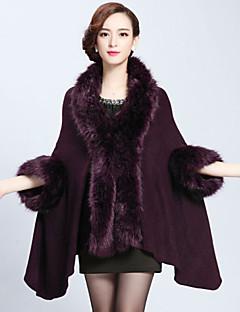Wedding  Wraps / Fur Coats / Hoods & Ponchos Capes 3/4-Length Sleeve Faux Fur / Imitation CashmereBlack / Burgundy / Dark Navy / Grape /