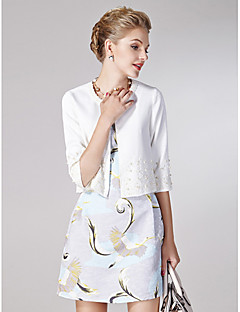 Sheath/Column Mother of the Bride Dress - White / Print Short/Mini Half Sleeve Polyester