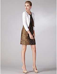 Sheath/Column Mother of the Bride Dress - Print Short/Mini 3/4 Length Sleeve Lace / Polyester