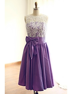 Tea-length Lace / Taffeta Bridesmaid Dress - A-line Jewel with Bow(s) / Lace