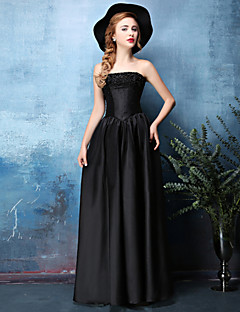 저녁 정장파티 드레스 - 블랙 A라인 바닥 길이 스트랩 없음 사틴 쉬프톤