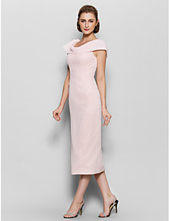 Sheath / Column Scoop Neck Tea Length Chiffon Mother of the Bride Dress with Pleats by LAN TING BRIDE®
