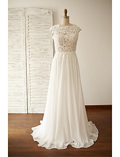 A-line Wedding Dress - Chic & Modern Open Back See-Through Sweep / Brush Train Jewel Chiffon Lace with Bow Button Sash / Ribbon