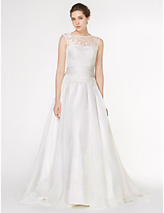 Lan Ting - A-line Wedding Dress - Ivory Court Train Scoop Chiffon / Lace