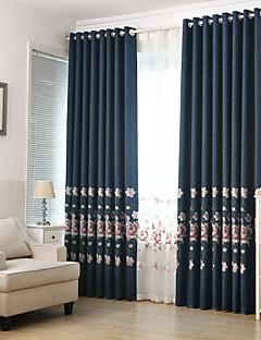 İki Panel Ülke / Modern / Neoklasik / Akdeniz / Avrupa Çiçek/Botanik / Yaprak / Vine Mavi Oturma Odası PolyesterBlackout Perdeler