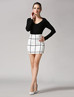 מעל הברך-דק-סגנון-חצאית(פשתן)