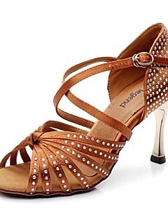 Non Přizpůsobitelné - Dámské - Taneční boty - Latina - Satén / Kůže - Jehlový podpatek - Černá / Hnědá