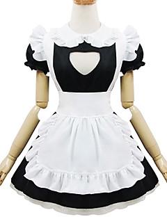 svartvit polyester piga kostym TYPE5