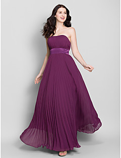Lanting Bride® Ankle-length Chiffon Bridesmaid Dress A-line Strapless with Draping