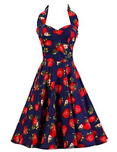 Women's Dark Blue Strawberry Pattern Floral Dress , Vintage Halter 50s Rockabilly Swing Dress